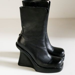 Vintage Square Toe Black Leather Wedge Boots